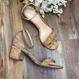 Schutz Chimes Cork Block Heel Ankle Strap Sandal